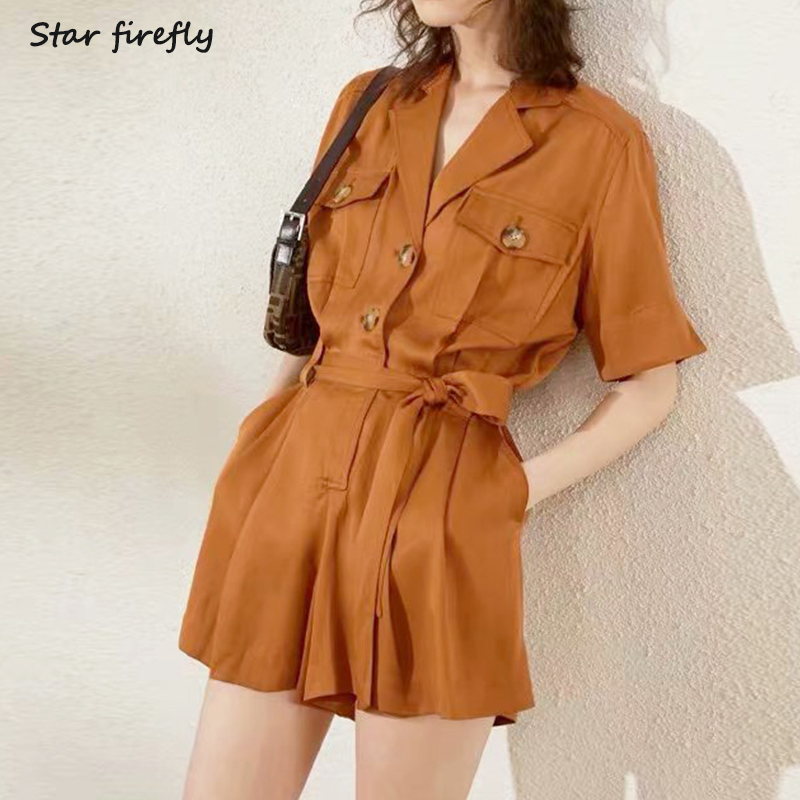 Star firefly women jumpsuit short sleeve loose tie waist tooling jumpsuit shorts
