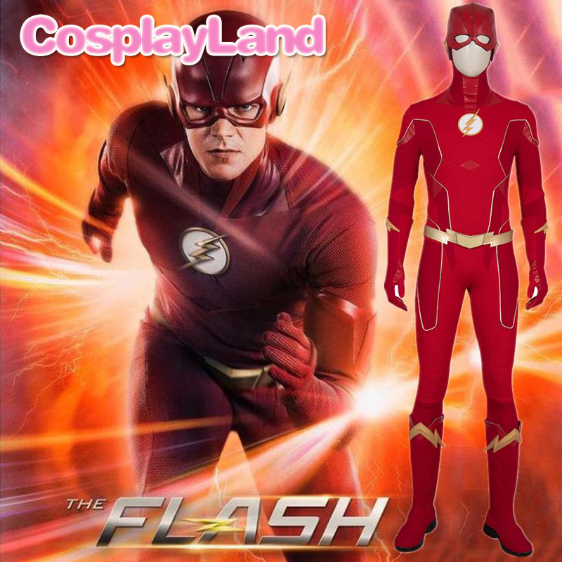 The <font><b>Flash</b></font> Season 6 <font><b>Barry</b></font> <font><b>Allen</b></font> Cosplay <font><b>Costume</b></font> Outfit <font><b>Flash</b></font> Jumpsuit Halloween Carnival Party Adult Uniform Boots Custom Made image