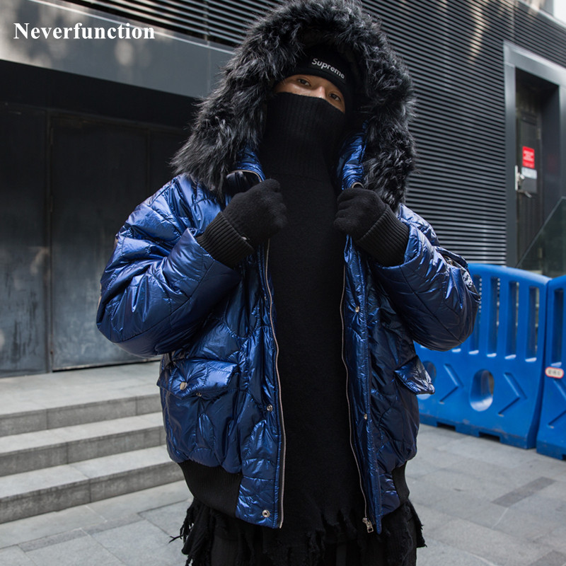 Streetwear Fashion Big Fur Collar Men Winter Coat Thick Parkas Fur Hoodie Coat Winter Jacket Padded Parka Homme Vintage Jacket