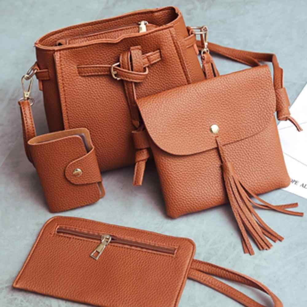 4 unids/set PU bolso con borlas de cuero para mujeres de gran capacidad bolso portátil Mini bolso de mano de la tarjeta bolso de mensajero de viaje