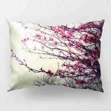 Pillowcase 50x30cm European Home Decoration cushion cover Flower Long Hug Pink Bright Pattern Polyester Fabric Mahogany