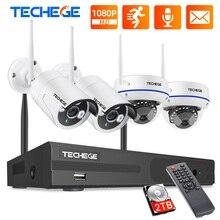 Techege 8CH 1080P Drahtlose CCTV System WiFi NVR Kit 2MP Outdoor Wasserdicht Vandalen Kuppel Kamera IP Wifi Sicherheit System kit