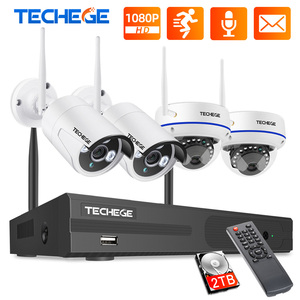 Image 1 - Techege 8CH 1080P Drahtlose CCTV System WiFi NVR Kit 2MP Outdoor Wasserdicht Vandalen Kuppel Kamera IP Wifi Sicherheit System kit