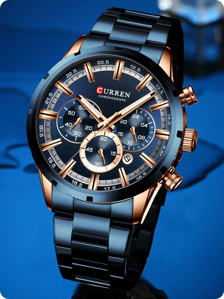 CURREN Mens Watches Sports Chronograph Stainless-Steel Top-Brand New-Fashion Luxury Quartz