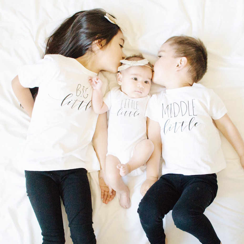 T-shirt moda unisex dziecko duży mały rodzeństwo zestaw pasujące koszulki topy t shirt nastolatki dzieci t-shirt biały