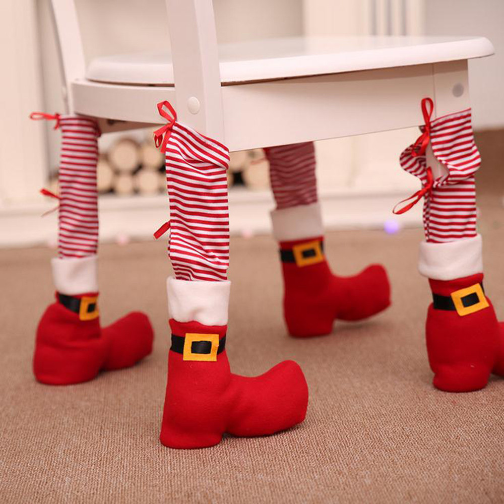 Christmas Decorations Christmas Chair Foot Cover Home Dressing Table Chair Protective Cover Creative Dress Up 12.3