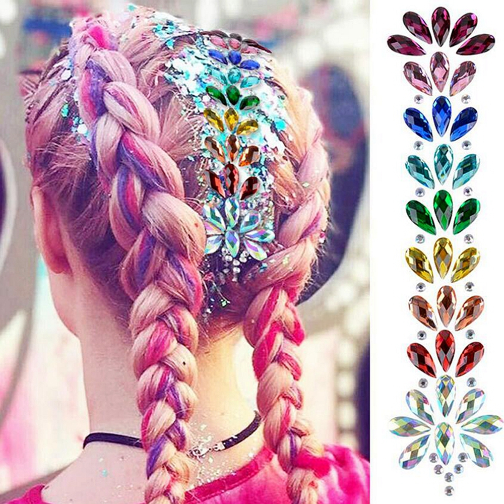 3D Crystal Resin Hair Forehead Headpiece Sticker Hair Glitter Face Body Gems Jewel Rhinestone Festival Flower Crown Styling Tool