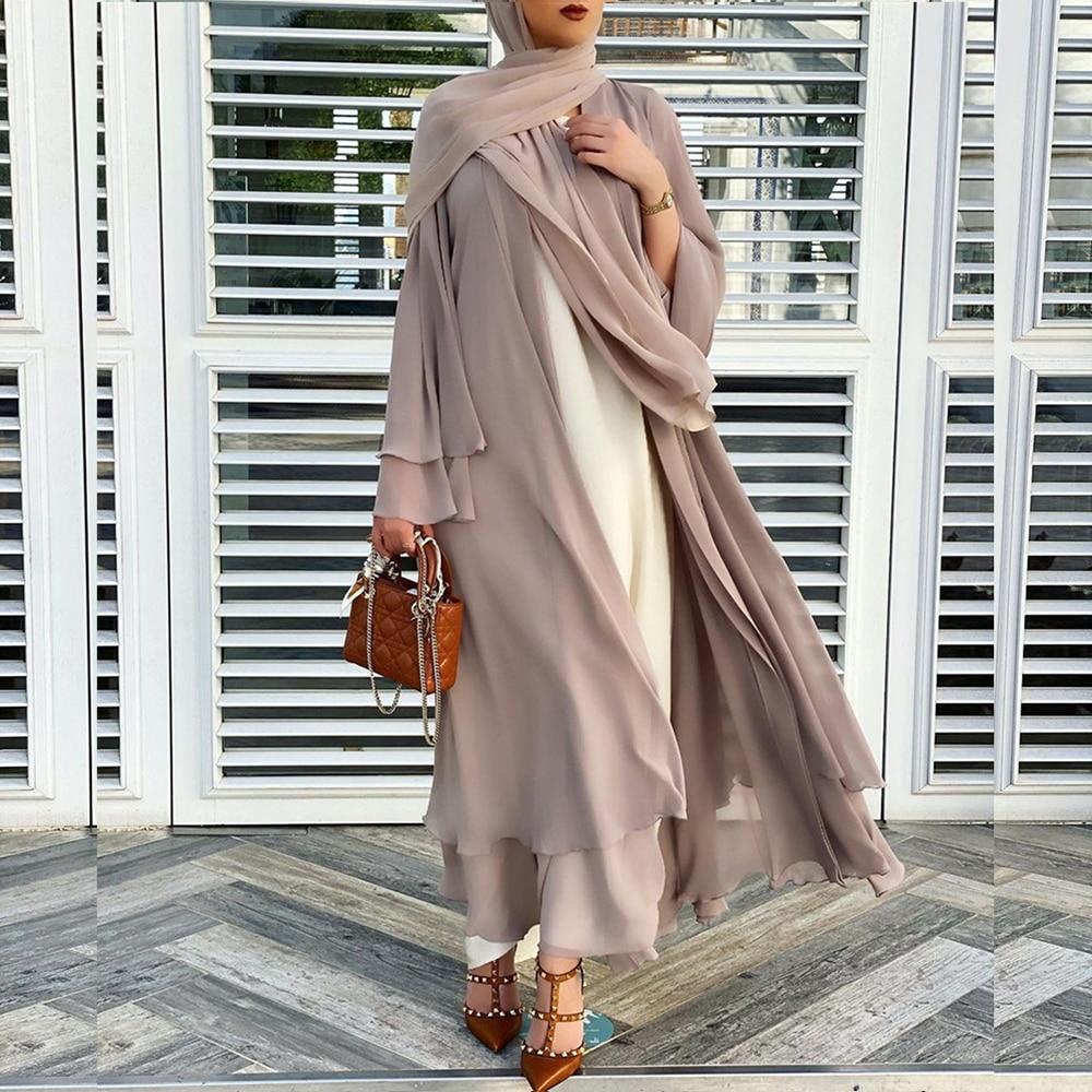 Solid Open Abaya Kimono Dubai Turkey Kaftan Muslim Cardigan Abayas Dresses For Women Casual Robe Femme