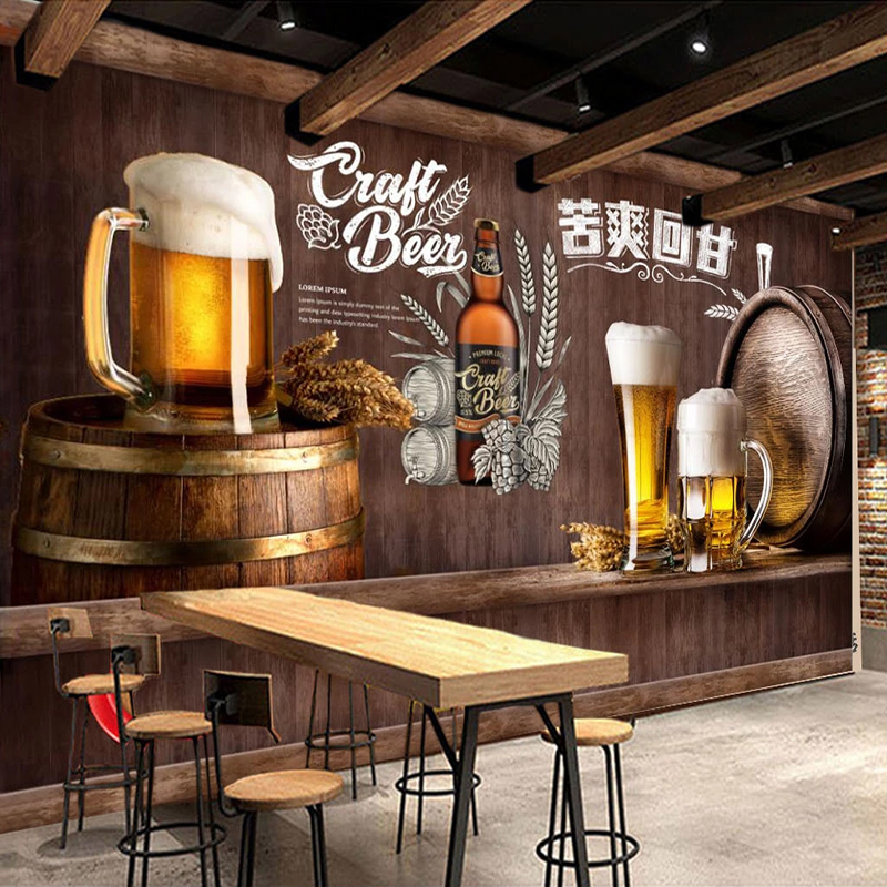 Custom 3D Photo Wallpaper Retro Nostalgic Beer Mural Restaurant Bar KTV Winery Wall Decor Painting Wall Paper Papel De Parede