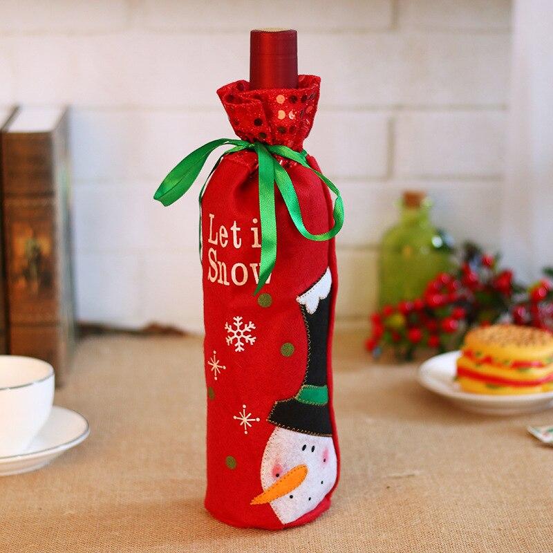 50 шт./лот, Рождественское украшение для дома, крышка для винных бутылок, Рождественский стол, макет, Подарочный пакет, Санта Клаус, прямые пос... - 6