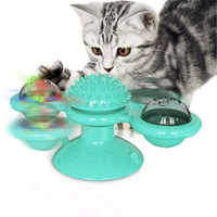 Interactive Cat Toy Windmill Portable Scratch Hair Brush Grooming Shedding Massage Suction Cup Catnip Cats Puzzle Training Toy