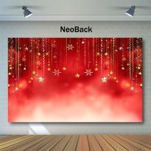 цена на NeoBack Red Christmas Backdrop Christmas Balls Glitter Bokeh Photography Backdrops Party Decor Photo Background Studio Props