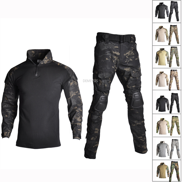 Military Uniform Shirt + Pants with Knee Elbow Pads Outdoor Airsoft Paintball Tactical Ghillie Suit Camouflage Hunting Clothes 1