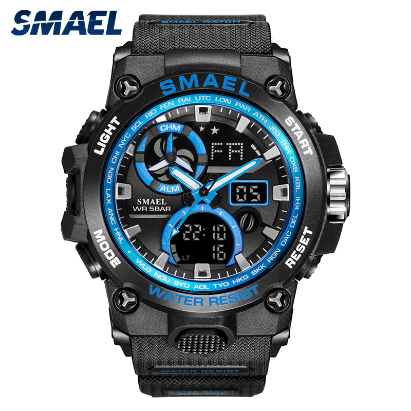 SMAEL 2019 Sport Military Watches Men Chronograph Waterproof Quartz Wristwatch Clock Analog Men Digital Watches 8011