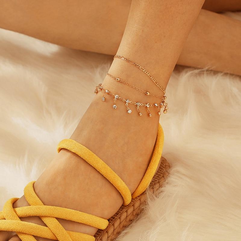 3Pcs Bohemian Ankle Bracelets Set Multilayer Beads Rhinestone Tassel Pendant Charm Bracelets Women Anklet Foot Jewelry Gift