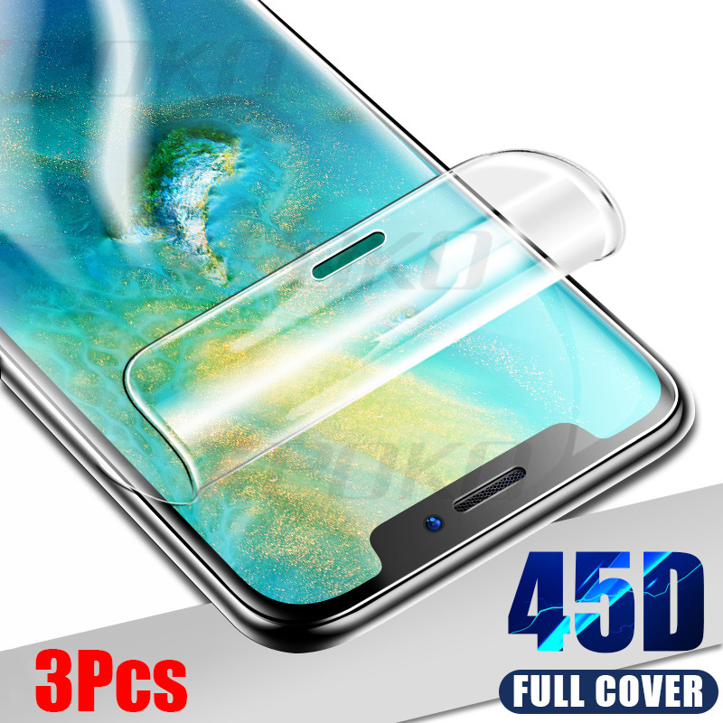 3Pcs 45D Screen Protector Hydrogel Film For Huawei P30 P20 Mate 20 Lite Pro Protective Film Honor 9 Lite 10 8X Not Glass