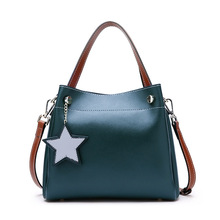 купить MZORANGE Real Cow Leather Ladies HandBags Genuine Leather Bucket bags Totes Messenger Bags Luxury Brand Shoulder Crossbody Bag дешево