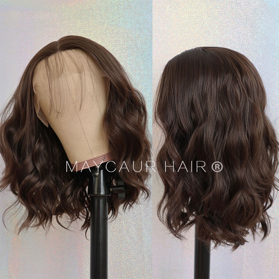 Maycaur Short Bob Synthetic Lace Front Wigs For Women Black Brown Wavy Hair Wig With Natural Baby Hair