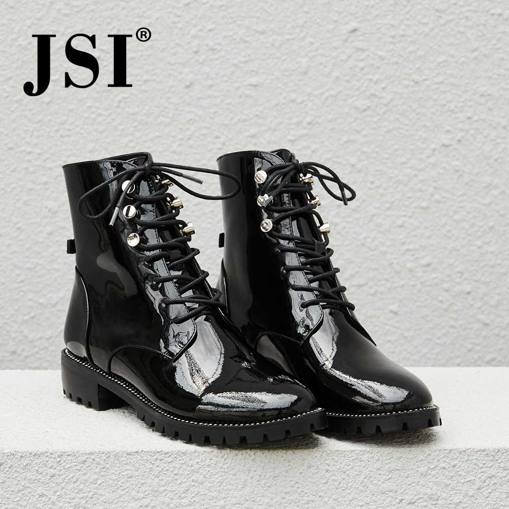 JSI Fashion Winter Women Boots Ankle Patent Leather Shoes Lace-Up Solid Round Toe Square Heel Low Heel Basic Women Boots JE18