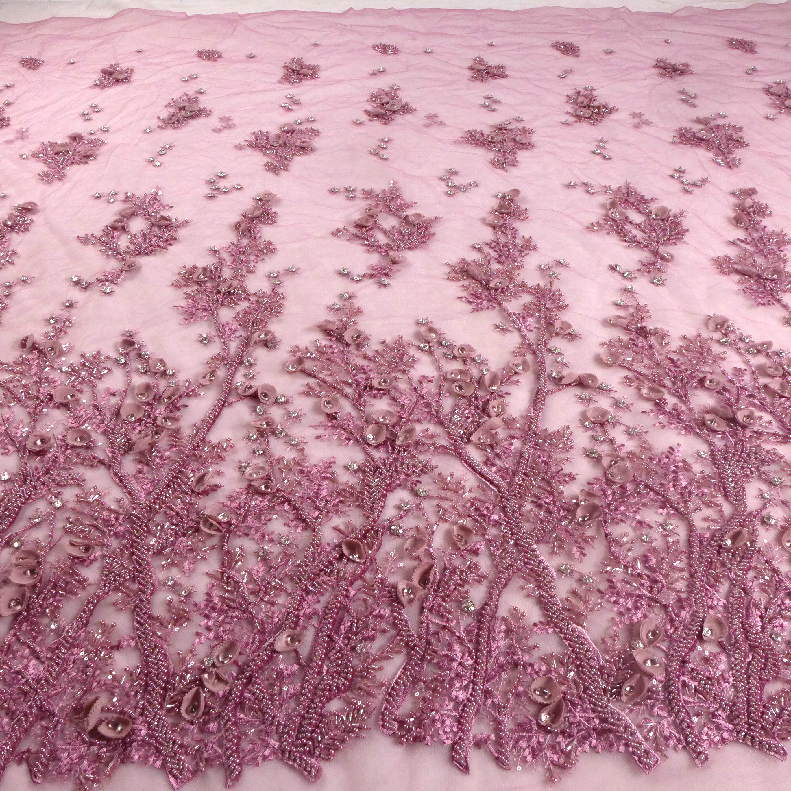 GOOD NEWS Restock some yards La Belleza dirty pink handmade beading crystal 3D flowers evening dress lace fabric 1 yard