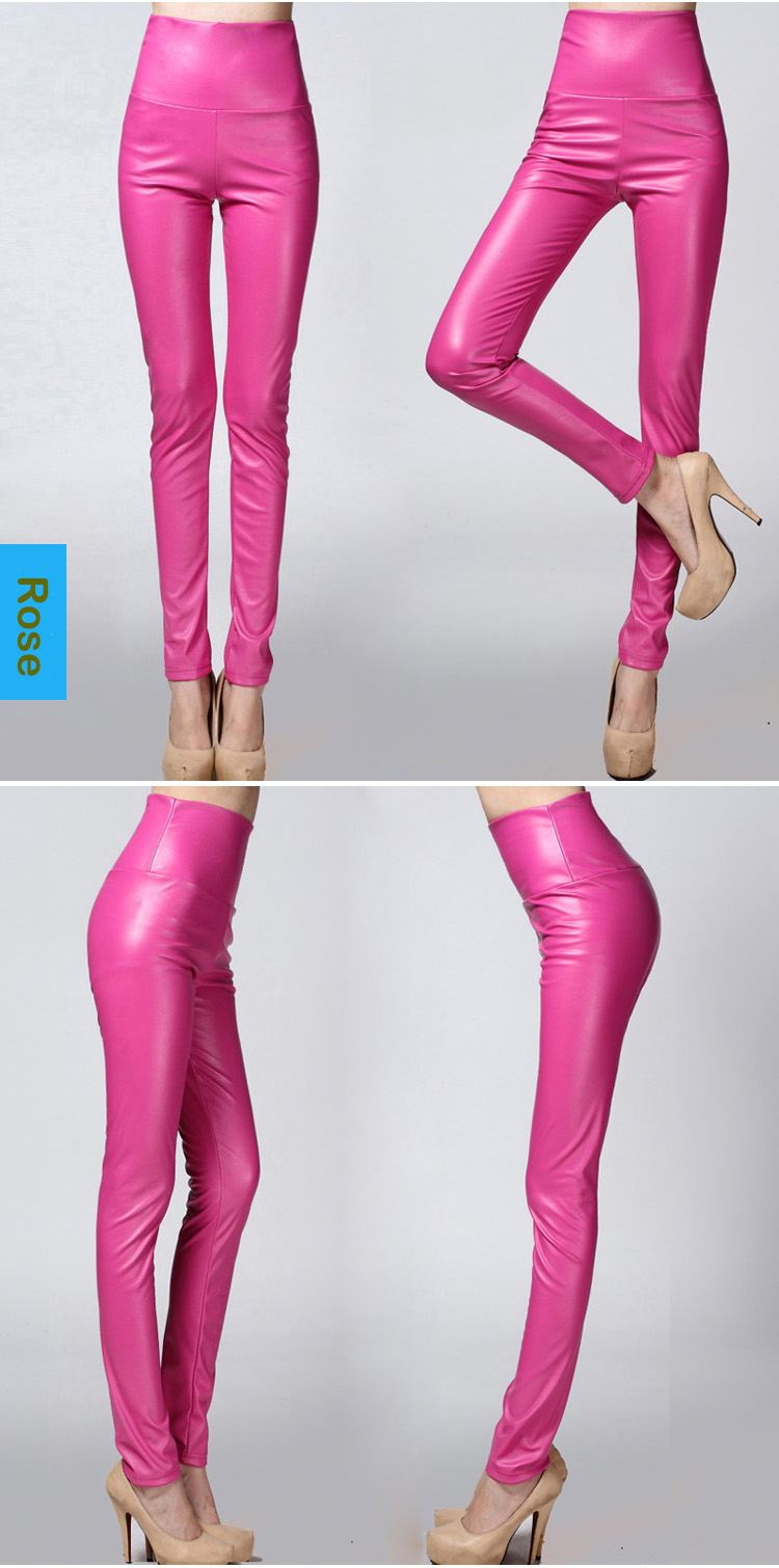 Women Tight Trouser Autumn Winter Women Thin Velvet PU Leather Pants Female Sexy Elastic Stretch Faux Leather Skinny Pencil Pant