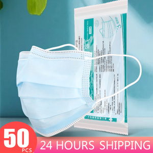 Image 1 - 50 100 pcs 3 Layer Non woven Dust Proof Flu Face Mask Thickened Disposable Mouth Mask Anti Dust Protective Earloops Cover Masks