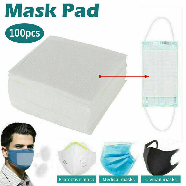 100Pcs Anti-Flu Gasket Face Mask Pad Replacement Filter Activated Carbon Breathing Filter Disposible Mouth Mask Pad