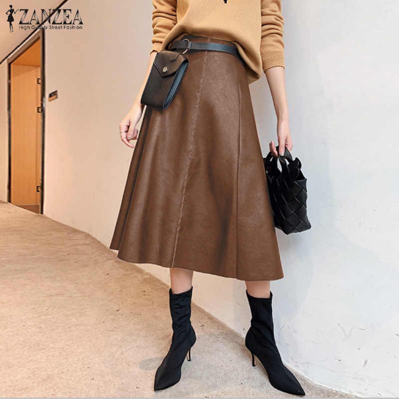 Mode PU Leder Röcke frauen Frühjahr Sommerkleid ZANZEA 2020 Casual Hohe Taille Lange Vestidos Weibliche Feste Midi Robe Plus größe