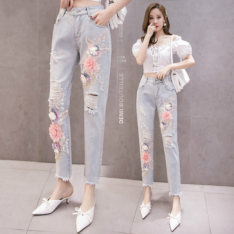 Industrial Embroidery Flowers With Holes Jeans 2020 Spring Sequin Beads Denim Pants Women's Summer Jeans Ladies Jean Pants