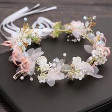 TULXWedding Pearl Flower Headband Fashion Bridal Jewelry Crown Hairbands Band Tiara Headpiece Girls Hair Accessories