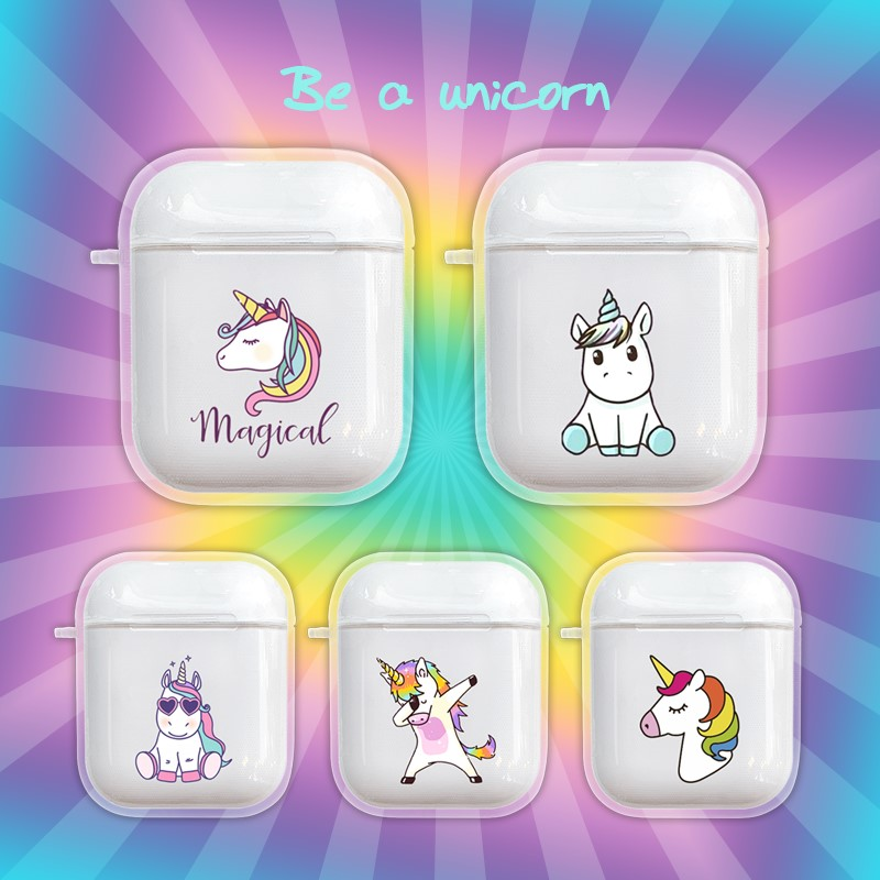 Cartoon Unicorn Case For Apple Airpods 1 2 Case Wireless Bluetooth Earphone Charging Headphone Clear Cute Cover For Air Pods Box-in Earphone Accessories from Consumer Electronics
