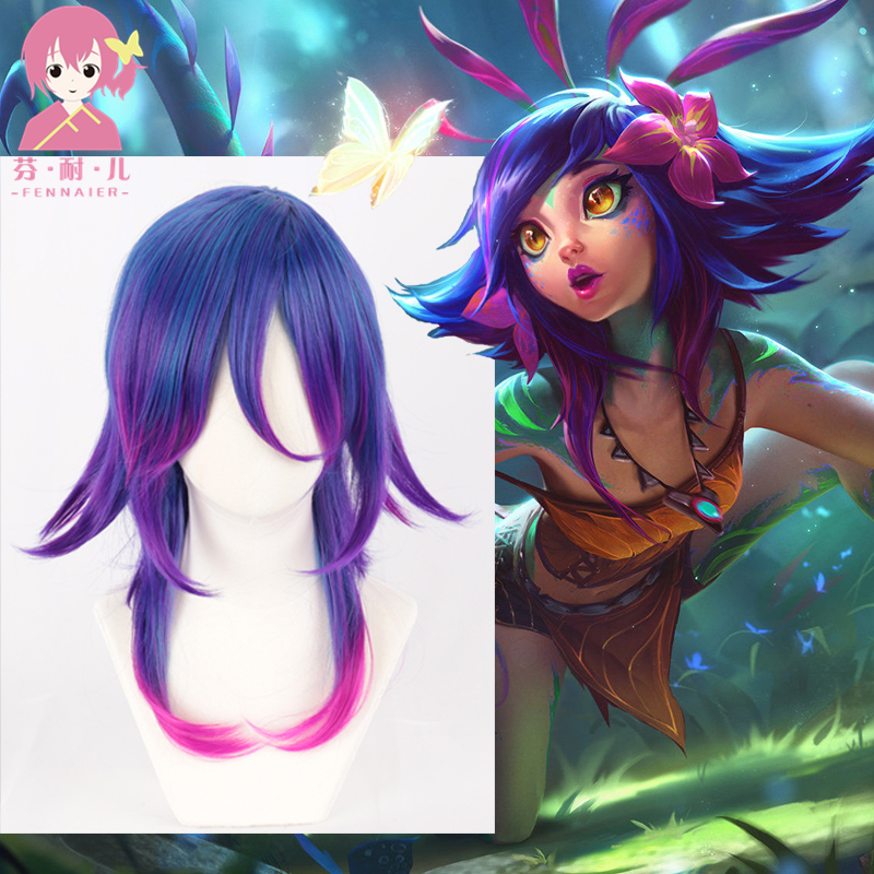 LOL Neeko Cosplay Wigs The Curious Chameleon Game Cosplay Wig Heat Resistant Synthetic Hair Perucas Cosplay Wig