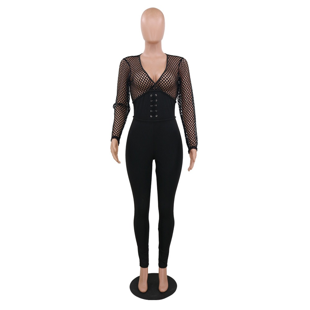 Jumpsuits For Women 2020 Party Club Sexy Black Long Sleeve Mesh See Through High Waist Skinny Night Evening Rompers Jumpsuits