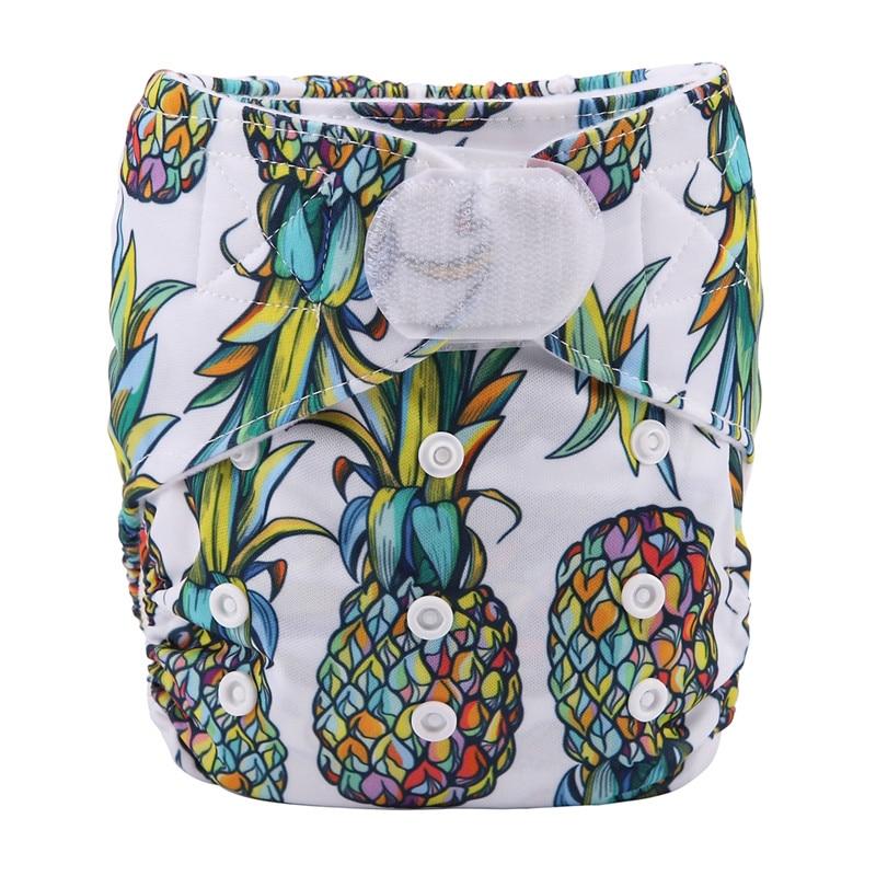 [Sigzagor] 1 тканевый подгузник с карманами для детей, подгузник с застежкой-липучкой, с широкими полосками на талии - Цвет: DV7