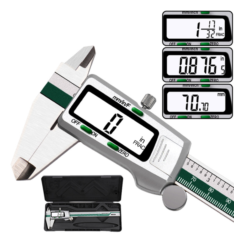 150mm Fraction/mm/inch Stainless Steel Digital Vernier Caliper Electronic Metal Pachometer Calibrator Measuring Caliber