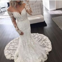 Robe De Mariee Sexy Lace Off The Shoulder Mermaid Bridal Dress 2019 Sleeveless Illusion Back Long Sleeve Wedding Gowns