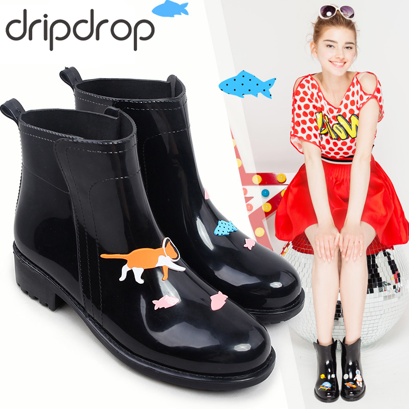 DRIPDROP Rain Boots for Women Waterproof Anti Slip Rainboots Girls Fashion Rubber Shoes Spaceship Cats  Appliques-in Ankle Boots from Shoes