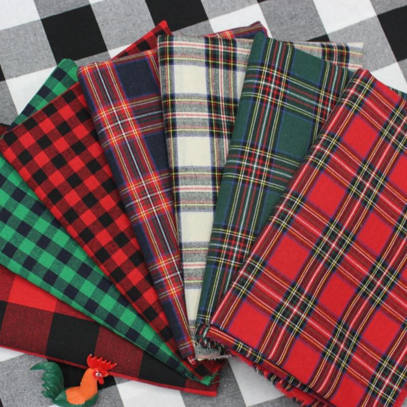 Xadrez pano de algodão diy pano de costura roupas de mesa estofamento e natal pano de fundo decoração por metro