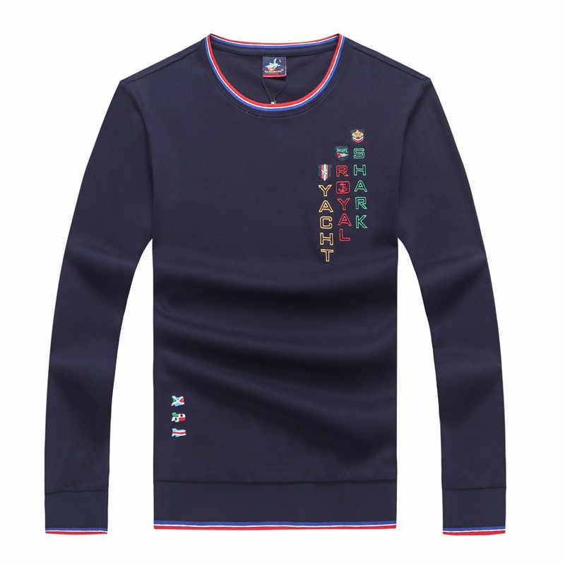 2019 가을/겨울 남성 의류 o 넥 긴 소매 티셔츠 남성 티 셔츠 homme 하라주쿠 브랜드 Tace & Shark 남성면 t 셔츠