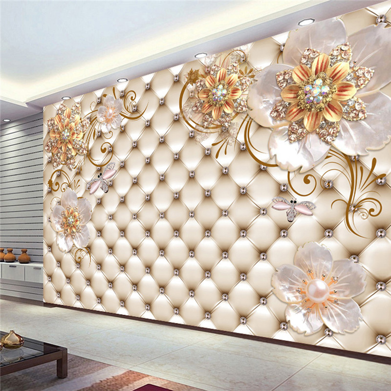 Dropship Custom Any Size 3D Mural Wallpaper European Style Crystal Flower Photo Wall Painting Theme Hotel Luxury Decor Wall