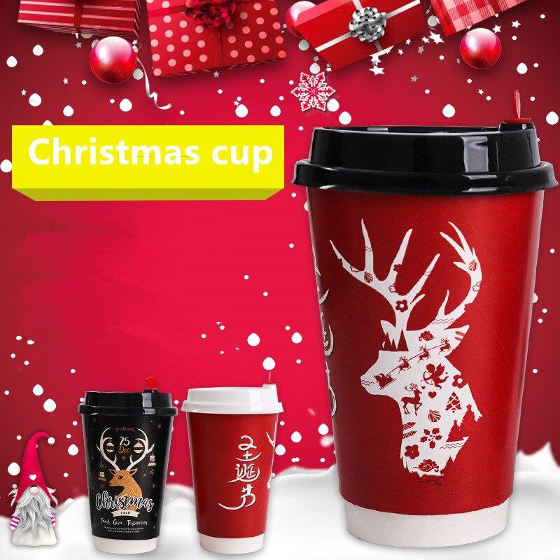 50pcs haute qualité noël papier tasse jetable café lait thé double nouvel an boisson chaude à emporter paquet tasses avec couvertures