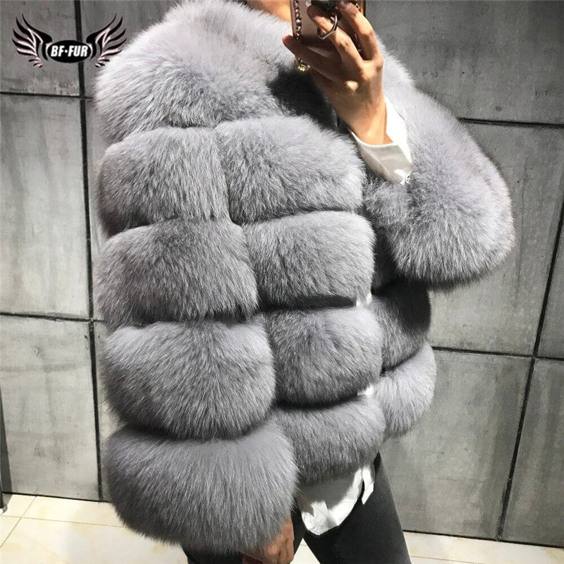 Natural Women Real Fox Fur Coat Winter Luxury Outwear 50cm Long Wholeskin Genuine Fox Fur Jacket Woman Fur Coats Short Overcoats