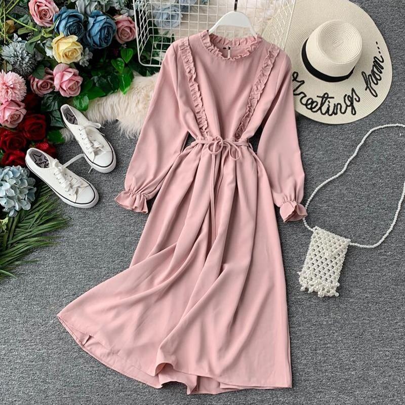 2019 Spring Autumn New Women Chiffon Dress Female Vintage Casual Belt Long Sleeve Dress Lotus Leaf Neck A-line Long Dresses