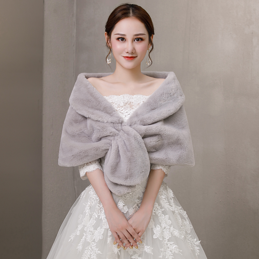 Soft Faux Fur Wrap Shrug For Women Fashion Winter Wedding Bridal Bridesmaids Dress Cover Up Accessories Stoles Handmade
