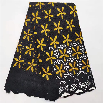 Gold Soft Swiss Voile Lace In Switzerland High Quality Nigerian Swiss Cotton Lace Fabrics Stoned Holes Design For Dress Sewing