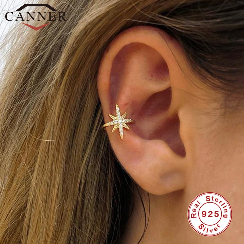 1 Pcs European And American 925 Sterling Silver Clip On Earrings For Women Geometric Gold Silver Clip Earrings Without Piercing