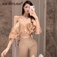 Women Fashion Shirts Sexy V neck Strapless Backless Blouses Bow Bandage Off shoulder High Waist Casual Draped Short Top 3 Colors