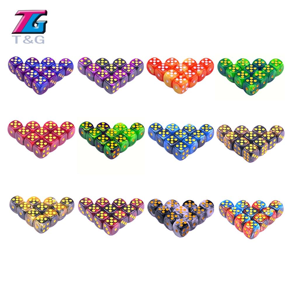 T & G, разные цвета, высокое качество, 10 шт., Φ 12 мм D6, мини-стандарт, для азартных игр, настольная игра, Gemini