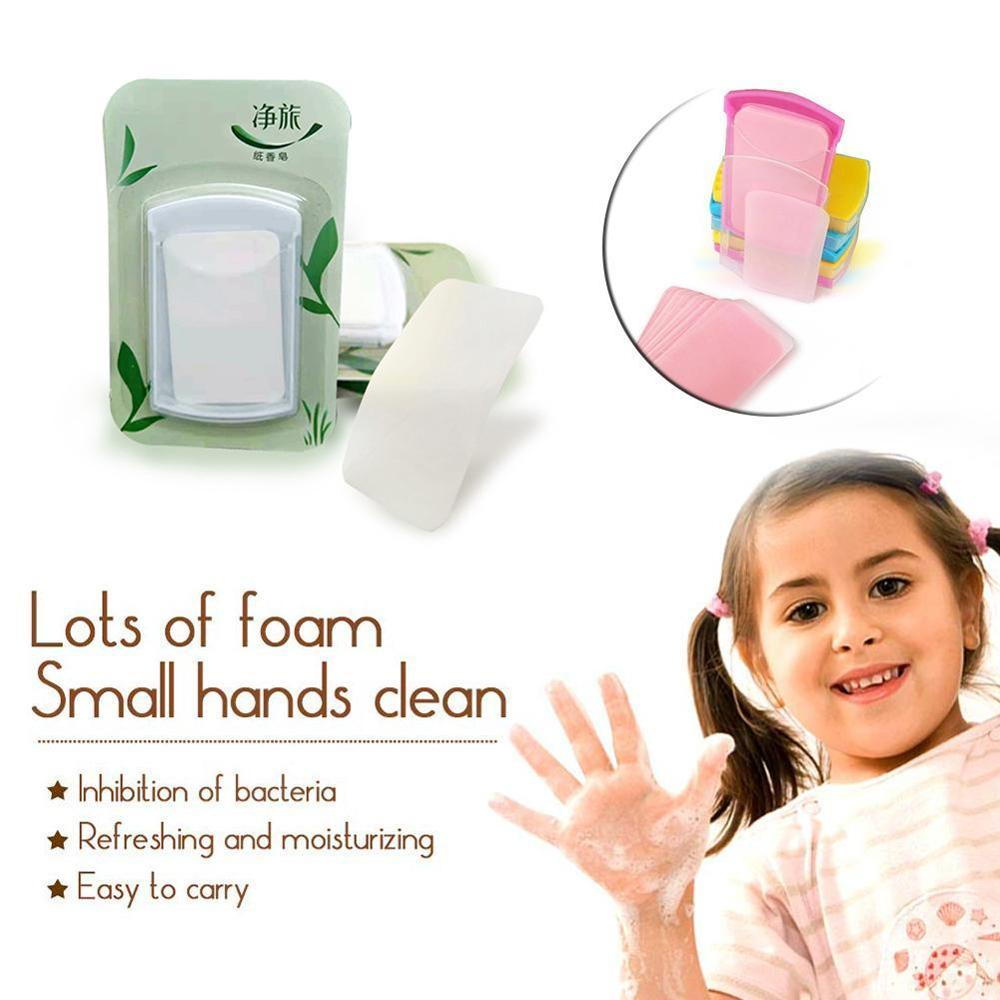 50Pcs Portable Hand Wash Soap Disposable Washing Hand Bath Toiletry Paper Soap Cleaning Slice Sheets Mini Paper Soap