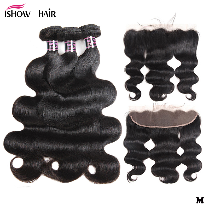 Ishow Hair Brazilian Body Wave Bundles With Frontal 100% Human Hair Bundles With Closure Frontal 3 Bundles With Frontal Non-Remy